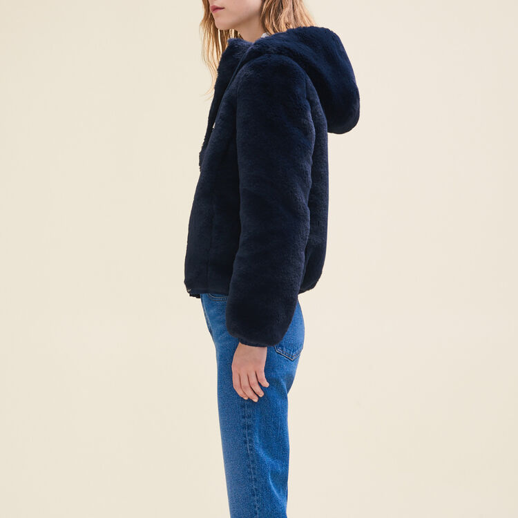 Cazadora corta de falso pelo : Jacken farbe Blau