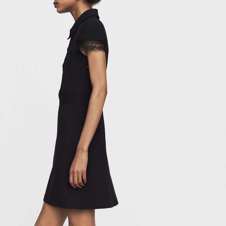 Hemdkleid aus Krepp : Kleider farbe Schwarz