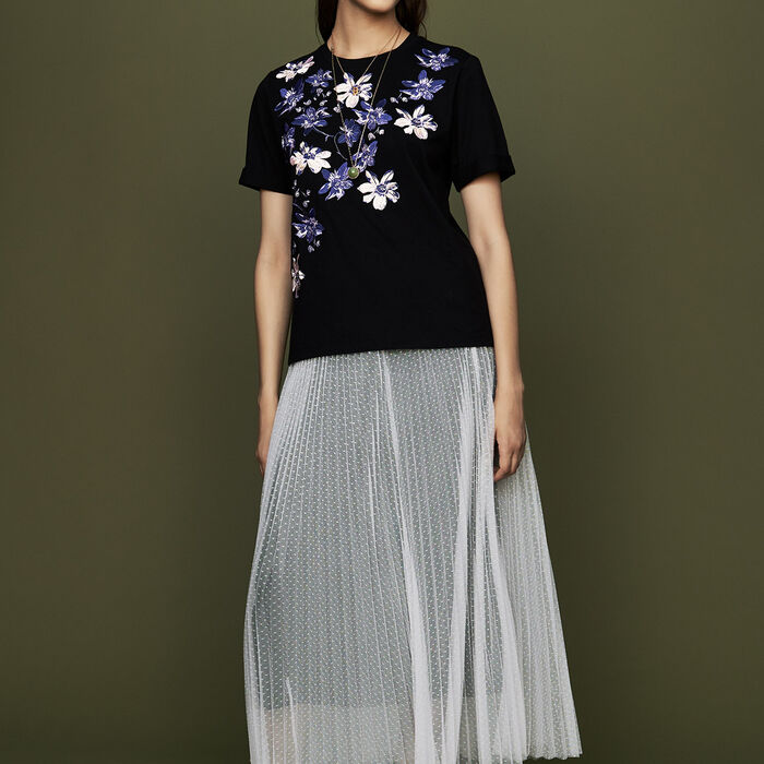 Plissee-Unterrock aus geflocktem Tüll : Röcke & Shorts farbe ECRU