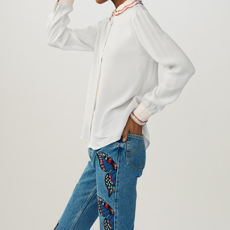 Shirt with embroidered collar : Hemden farbe Ecru