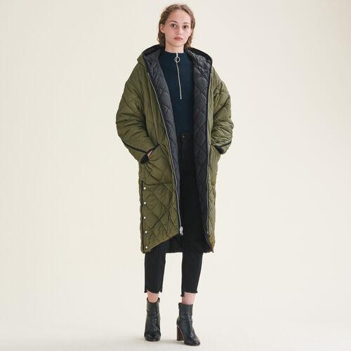 Lange Wende-Daunenjacke : Manteaux farbe Khaki