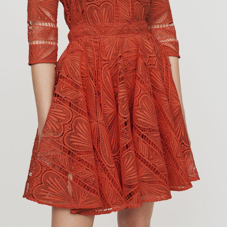 Guipure Skaterkleid : Kleider farbe Terracotta