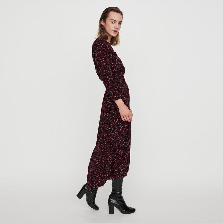 Printed-crepe smock dress : Kleider farbe Schwarz