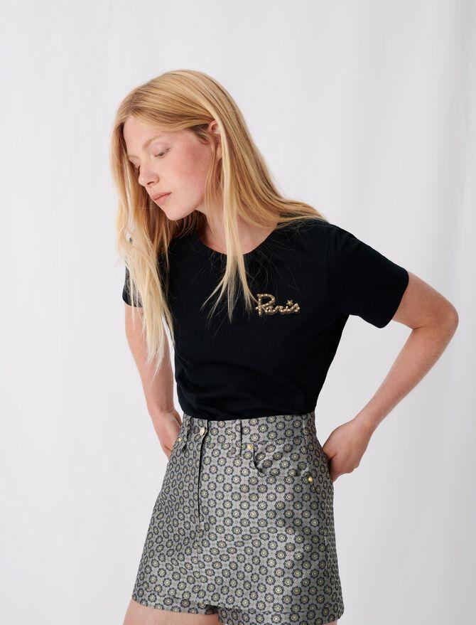 Kurzärmliges T-Shirt mit Stickerei - Alles sehen - MAJE