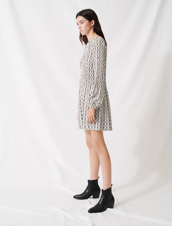 Kurzes Plisseekleid im Foulard-Stil - Kleider - MAJE