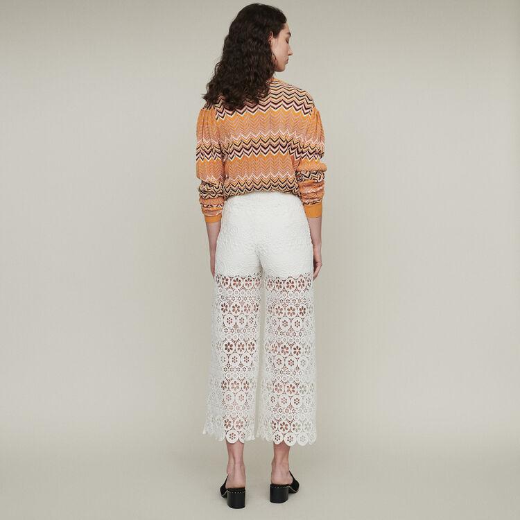 Panta-corto ancho de guipur margarita : Hosen & Jeans farbe Weiss