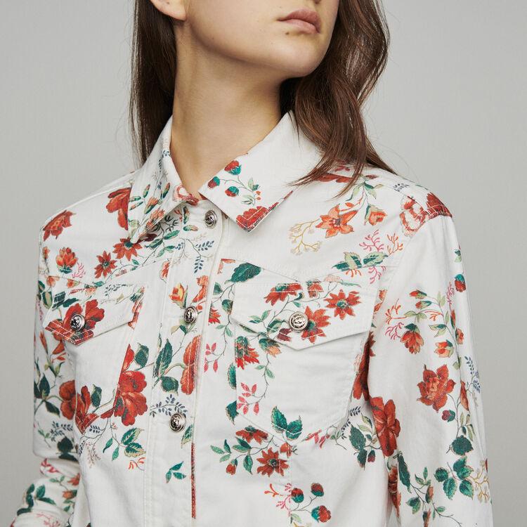 Jeansjacke mit Blumendruck : Blazers farbe IMPRIME