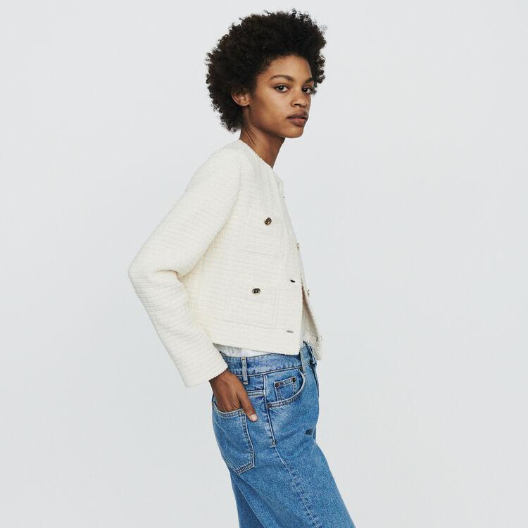 Kurze Jacke mit Tweed-Effekt : Blazers farbe Ecru