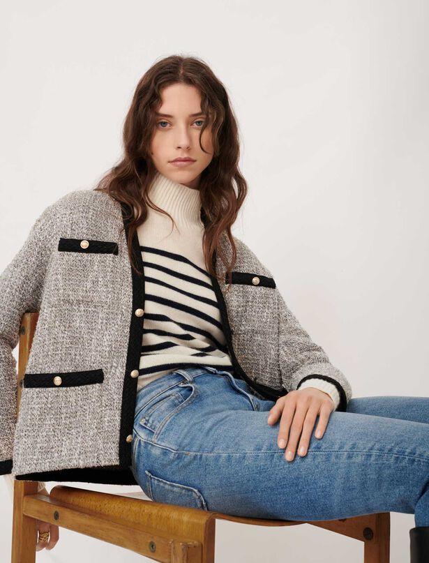 [20FW] 마쥬 샤이닝 트위드 자켓 ('나 혼자 산다' 손담비 착용) MAJE Jacke im Tweed-Stil mit Kontrastdetails,Silber