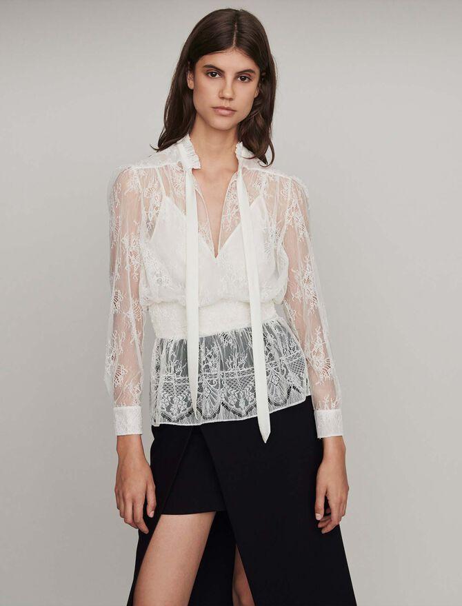 Smocked lace top - Tops & Hemden - MAJE