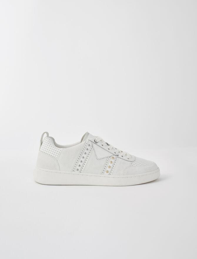 Weiße Ledersneaker mit Nieten - Sneakers - MAJE