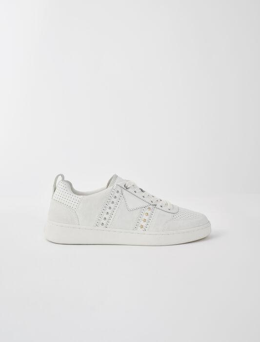 Weiße Ledersneaker mit Nieten : Sneakers farbe Weiss