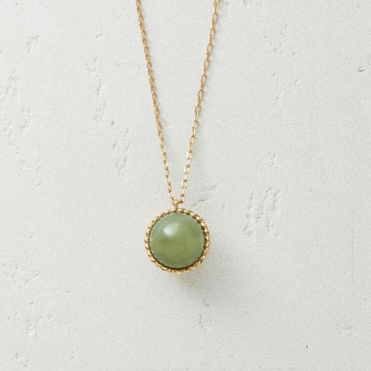 Halskette mit Natursteinkugel : Schmuck farbe Wassergrün