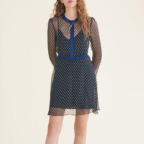 Gepunktetes Kleid aus Seiden-Musselin : Robes farbe Print