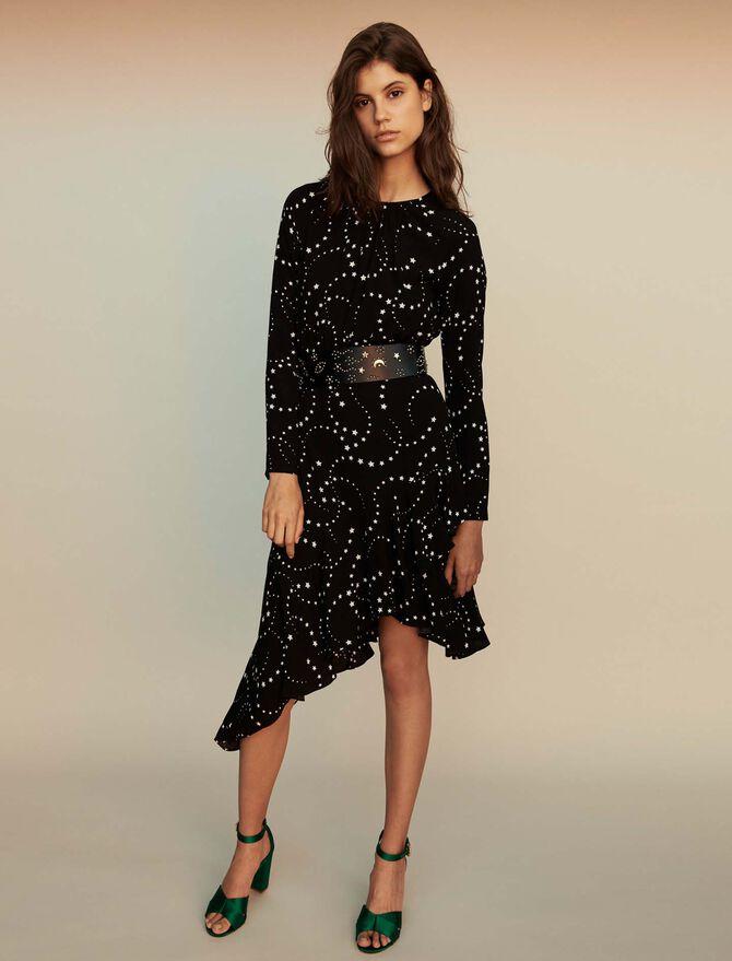 Asymmetrisches Krepp Kleid mit Print -  - MAJE