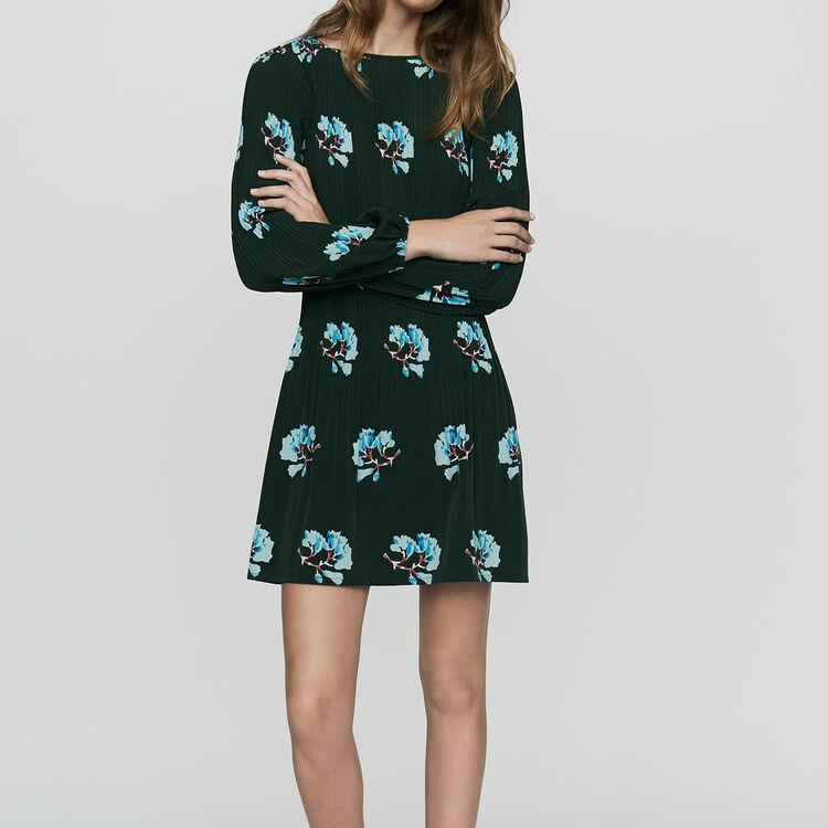 Plissee-Kleid mit floralem Print : Kleider farbe IMPRIME
