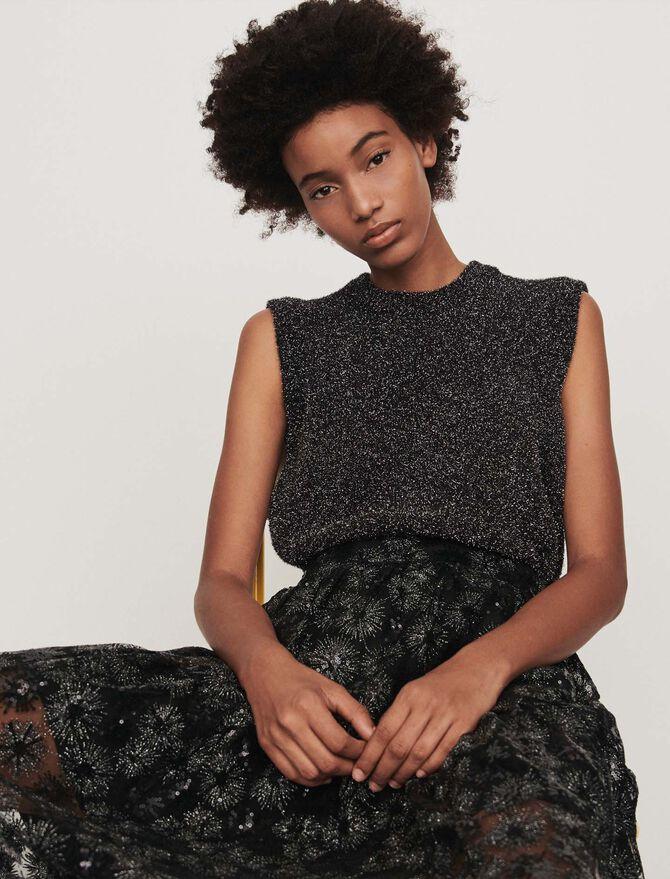 Ärmelloser Pullover aus Lurex - Midseason-Sales_UK_30% - MAJE