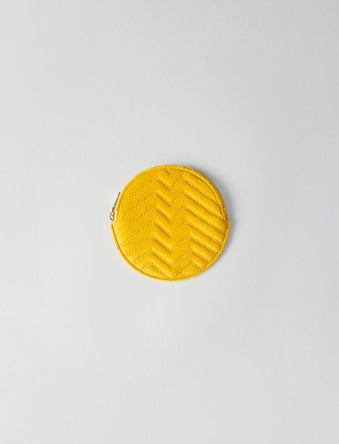 Runde Geldbörse aus gestepptem Velour - Kleinlederwaren - MAJE
