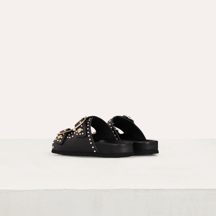 Leder Sandalen mit verzierten Studs : Flache Schuhe farbe SCHWARZ