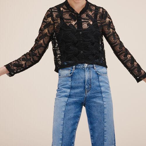 Kurze Jacke aus Spitze : Jacken und Blousons farbe SCHWARZ