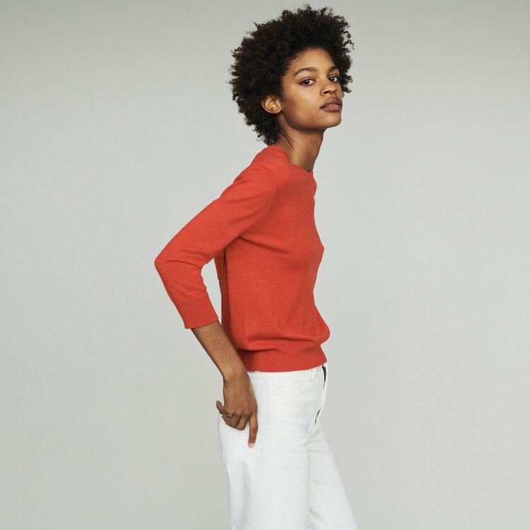 Pullover mit Halsausschnitt : Strickwaren farbe Rot