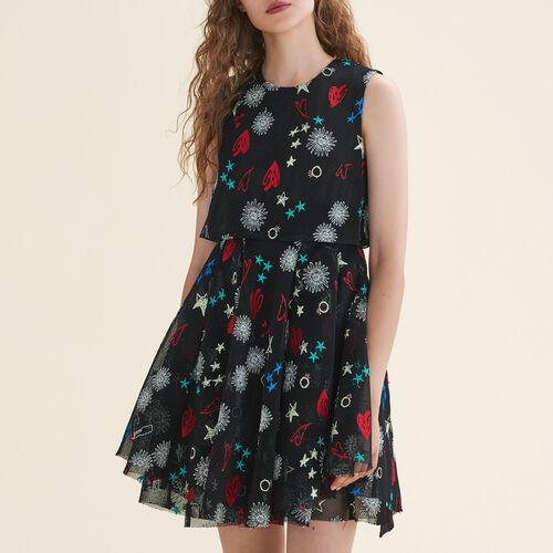 Ärmelloses Tüll-Kleid mit Stickerei : Kleider farbe Mehrfarbigen