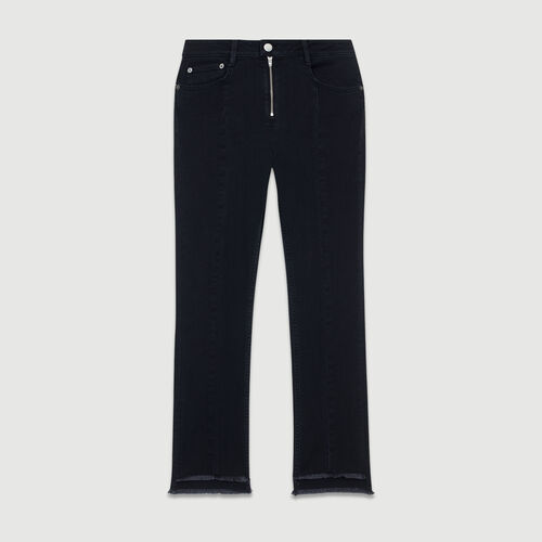 Asymmetrische Fransen-Jeans : Jeans farbe Grau