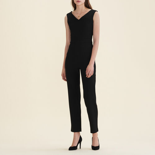 Ärmelloser Hosen-Overall aus Krepp : Hosen farbe Schwarz