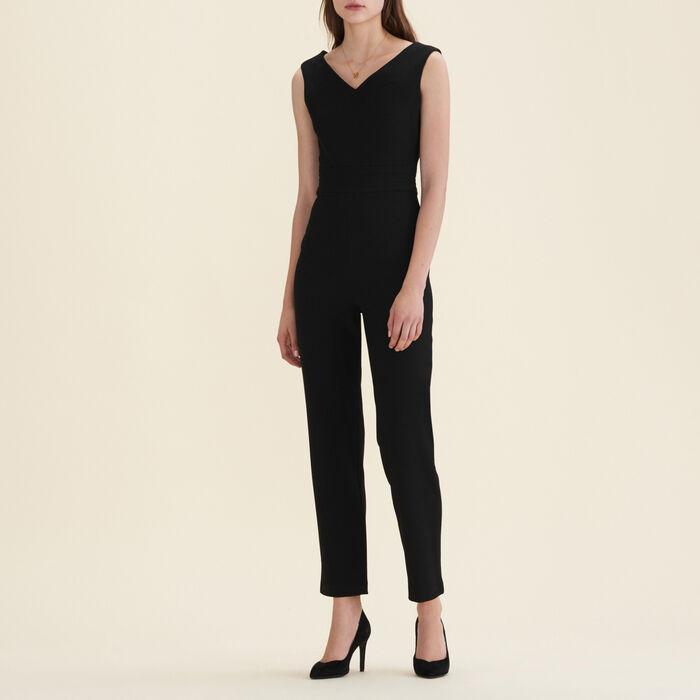 Ärmelloser Hosen-Overall aus Krepp : Pantalons & Jeans farbe Schwarz