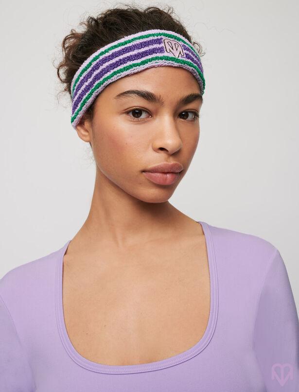 마쥬 MAJE Gestreiftes Stirnband aus Frottee/Lurex,Mauve