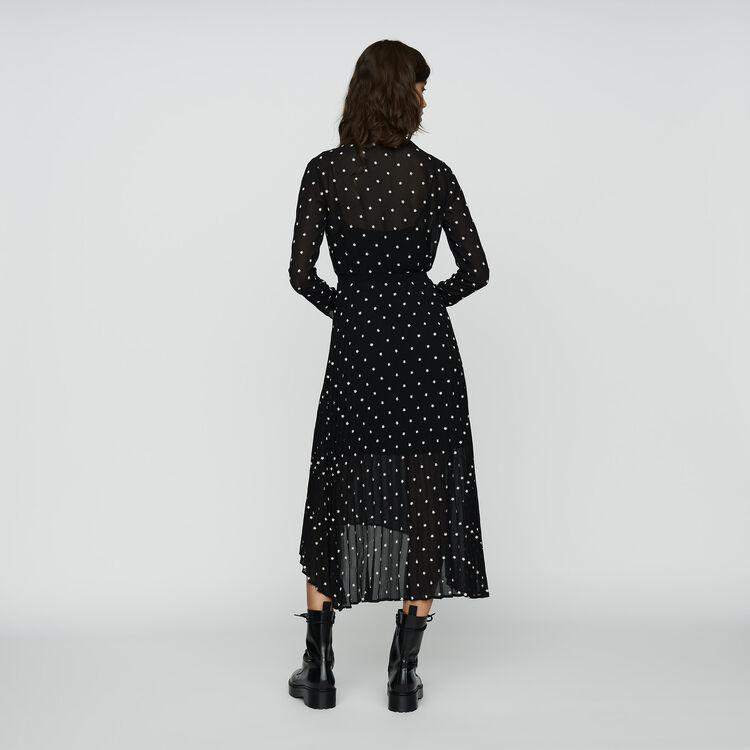 Langes Plissee-Kleid mit Stickereien : Kleider farbe SCHWARZ