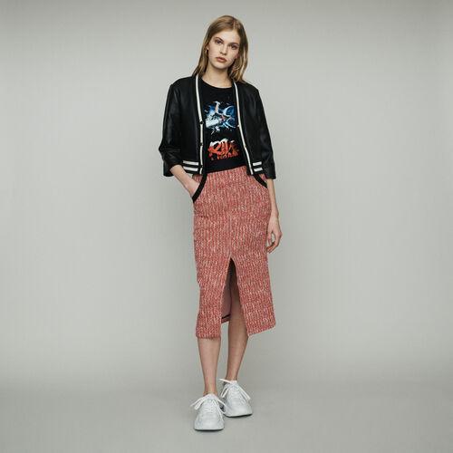Lederjacke mit Streifen : Mäntel & Jacken farbe SCHWARZ