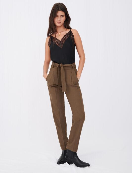 Gerade Kostümhose mit Gürtel : Hosen & Jeans farbe Braun