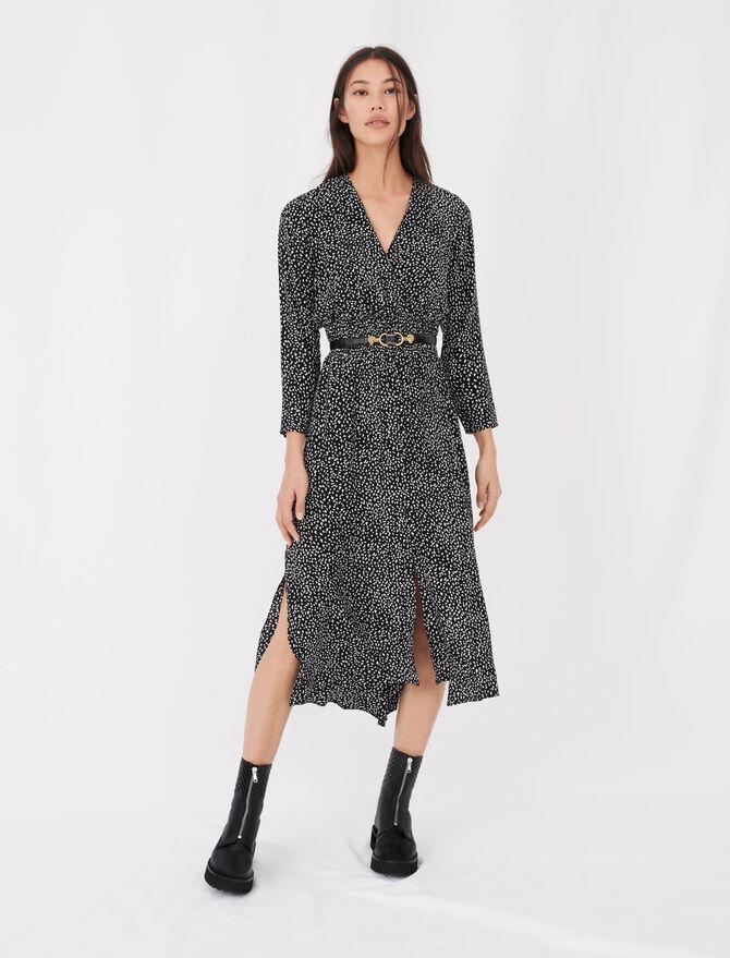 Langes bedrucktes Kleid aus Kreppstoff - Kleider - MAJE