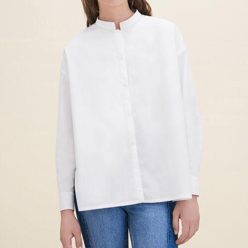 Asymmetrisches Hemd aus Popeline : Hemden farbe Weiss