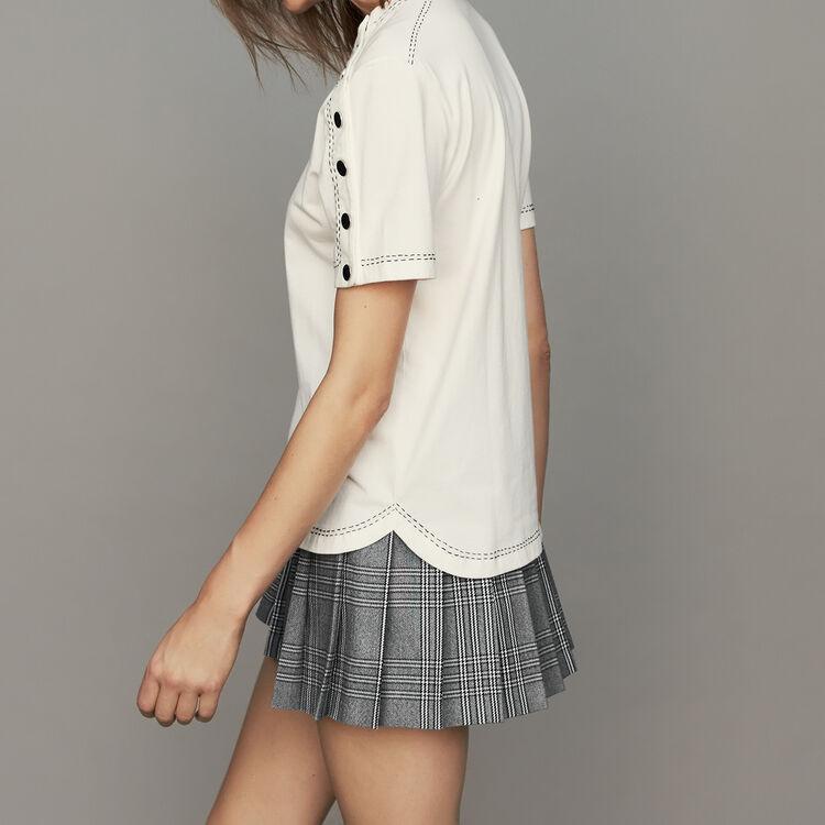 Baumwoll-T-Shirt mit Druckknöpfen : T-Shirts farbe Weiss