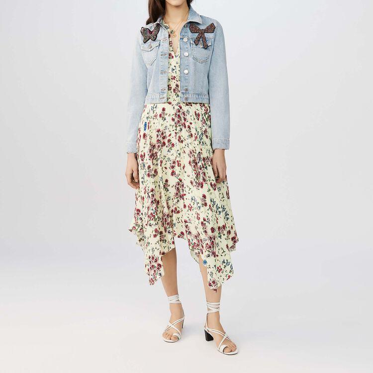 Kurze Jeansjacke mit Aufnäher : Le denim farbe Blau