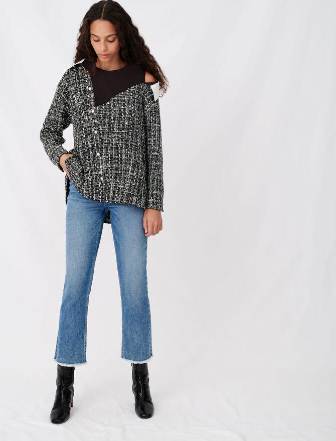 Trompe-l'œil-Oberteil in Tweed-Optik - Tops & Hemden - MAJE