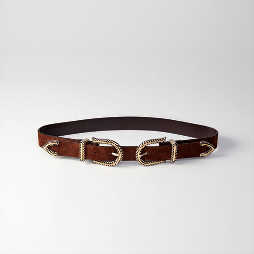 High-waisted double buckle belt : Gürtel farbe Schwarz