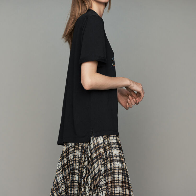 Oversize-T-Shirt aus Baumwolle mit Print : T-Shirts farbe Schwarz