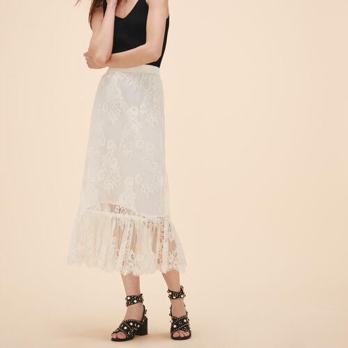 Langer Rock mit Spitze : Röcke und Shorts farbe Weiss