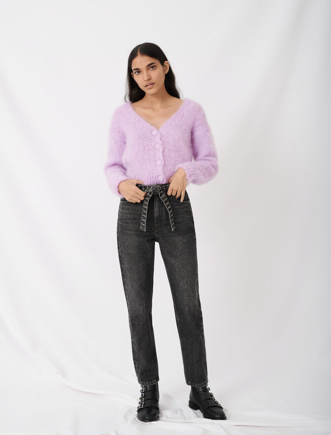 Mum-Jeans mit Strassgürtel -  - MAJE
