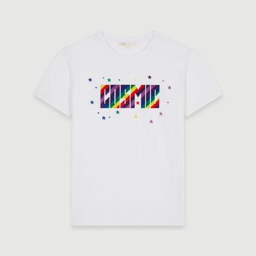 T-Shirt mit Stickereien : Winter Kollektion farbe Schwarz