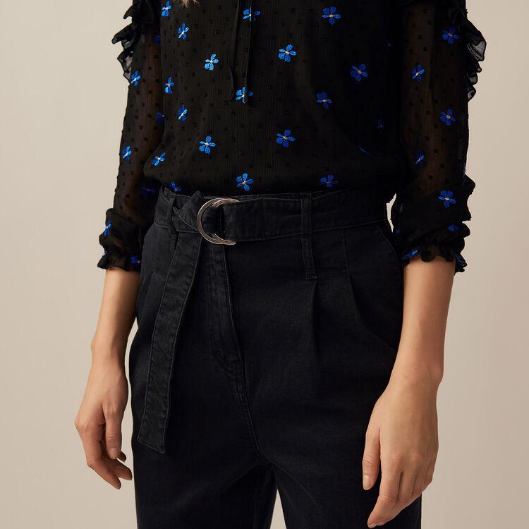 Bundfaltenhose aus Denim : Hosen farbe Schwarz