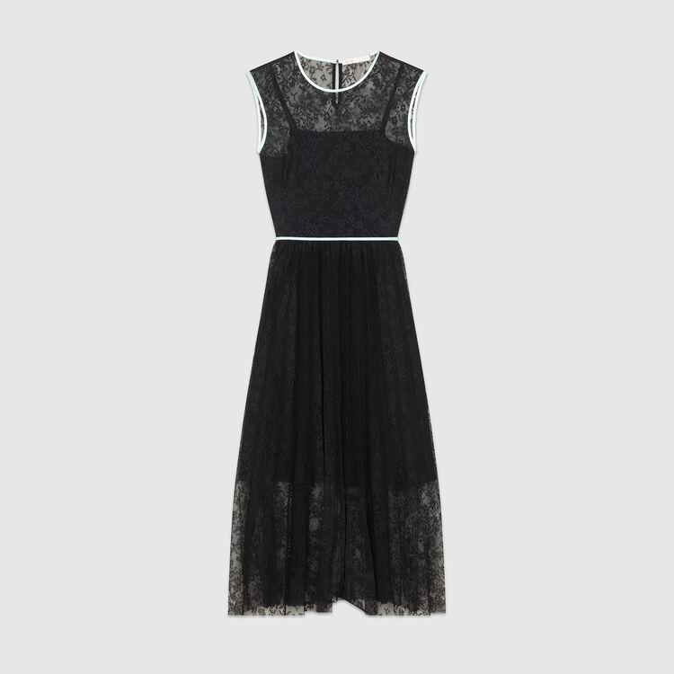 Ärmelloses Spitzenkleid : Kleider farbe Schwarz