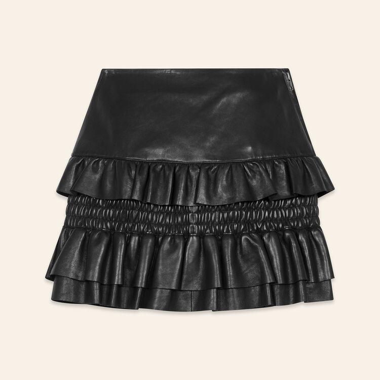 Rock aus Leder mit Rüschen : Jupes & Shorts farbe Schwarz