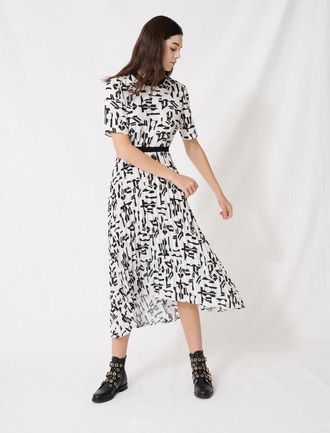 Gemustertes Kleid mit Gürtel - Kleider - MAJE