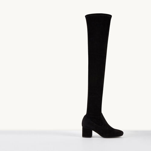 Overknee-Stiefel aus Veloursleder : Accessoires farbe Schwarz