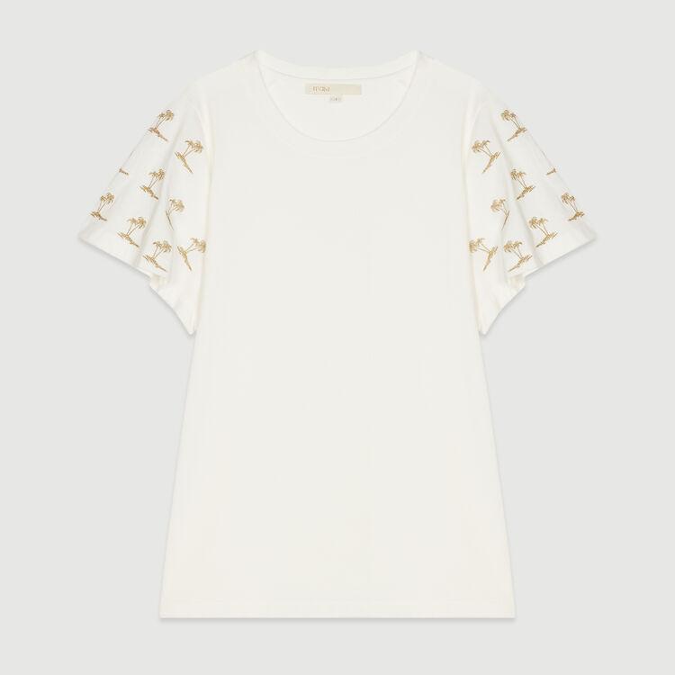 T-Shirt mit bestickten Ärmeln : T-Shirts farbe Weiss