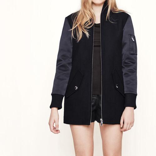 Mantel mit Materialmix im Bomber-Stil : Mäntel farbe Schwarz